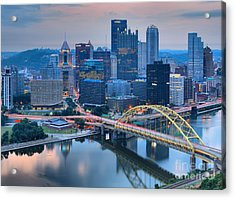Pink Skies And Pittsburgh Skyscrapers Acrylic Print by Adam Jewell
