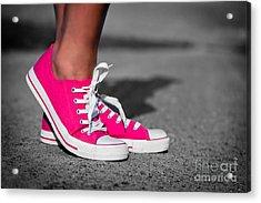 Pink Sneakers  Acrylic Print by Michal Bednarek