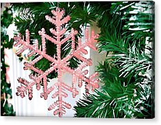 Pink Snowflake Acrylic Print by Audreen Gieger-Hawkins