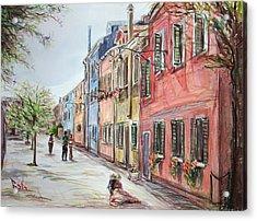 Pink Street Acrylic Print by Becky Kim