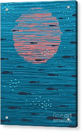 Pink Sunset And Fish Underwater Cartoon Acrylic Print