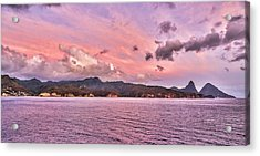Pink Sunset Cast On The Pitons In St. Lucia Acrylic Print