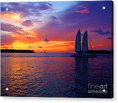 Pink Sunset In Key West Florida Acrylic Print by Susanne Van Hulst