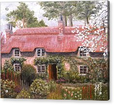 Pink Thatched Cottage Acrylic Print by Diane Daigle