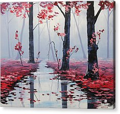 Pink Trees River Landscape Acrylic Print by Graham Gercken
