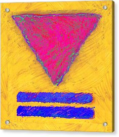 Pink Triangle On Yellow Acrylic Print