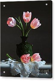Pink Tulips In A Water Jug Acrylic Print