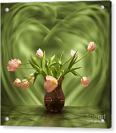 Pink Tulips In Green Room Acrylic Print