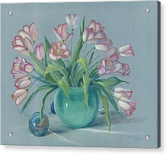 Acrylic Print featuring the painting Pink Tulips In Green Vase by Dan Redmon