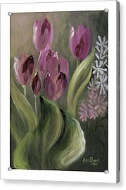 Pink Tulips Acrylic Print by Nancy Edwards