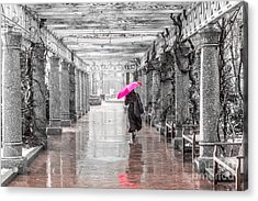 Pink Umbrella In A Storm Acrylic Print by Susan Cole Kelly Impressions