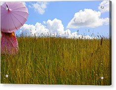 Pink Umbrella In The Meadow Acrylic Print