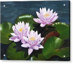 Pink Water Lilies - Oil Painting On Canvas Acrylic Print