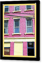 Pink Yellow Blue Building Acrylic Print by Kathy Barney