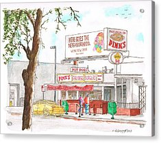 Pinks Chili Dogs - Hollywood - California Acrylic Print by Carlos G Groppa
