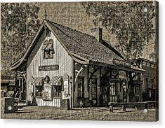 Acrylic Print featuring the mixed media Pinnacle Peak Trail Dust Town by Elaine Malott