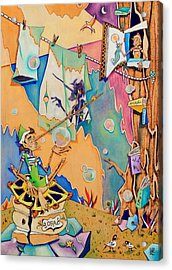 Pinocchio In Venice - Children Book Illustration Acrylic Print by Arte Venezia