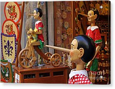 Pinocchio Inviting Tourists In Souvenirs Shop Acrylic Print by Kiril Stanchev
