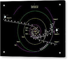 Pioneer And Voyager Probe Trajectories Acrylic Print by Nasa