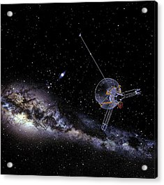 Pioneer Spacecraft In Interstellar Space Acrylic Print by Nasa