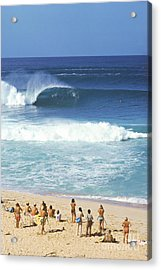 Pipeline Masters  Hawaii  1977 Acrylic Print by Lance Trout