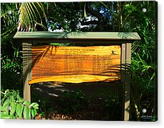 Acrylic Print featuring the photograph Pipeline Masters Winners Plaque by Aloha Art