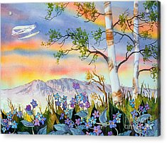 Acrylic Print featuring the painting Piper Cub Over Sleeping Lady by Teresa Ascone