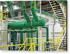 Pipework In A Car Factory Acrylic Print by Jim West