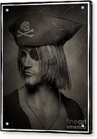 Pirate Captain Portrait - Antique Effect Acrylic Print by Fairy Fantasies
