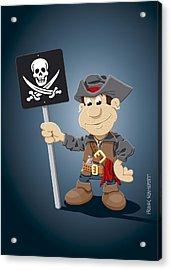 Pirate Cartoon Man Jolly Roger Sign Acrylic Print