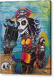 Pirate Girl - Surfs Up Acrylic Print by Laura Barbosa