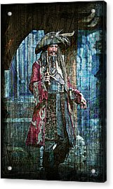 Pirate Keith Richards Acrylic Print by Absinthe Art By Michelle LeAnn Scott