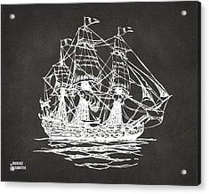Pirate Ship Artwork - Gray Acrylic Print by Nikki Marie Smith