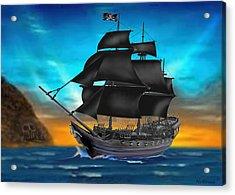 Pirate Ship At Sunset Acrylic Print