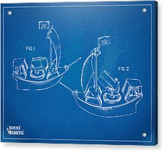 Pirate Ship Patent - Blueprint Acrylic Print by Nikki Marie Smith