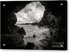 Pirate Treasure Cave Pa'iloa Beach Acrylic Print by Edward Fielding