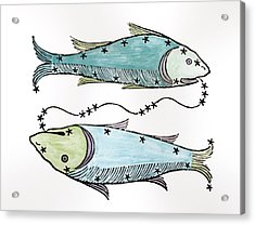 Pisces An Illustration Acrylic Print by Italian School