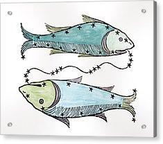 Pisces An Illustration Acrylic Print by Italian School