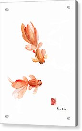 Pisces Zodiac Fishes Orange Red  Pink Fish Water Goldfish Watercolor Painting Acrylic Print by Johana Szmerdt