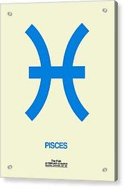 Pisces Zodiac Sign Blue Acrylic Print