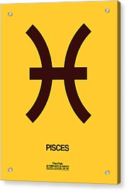 Pisces Zodiac Sign Brown Acrylic Print