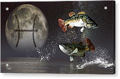 Pisces Zodiac Symbol Acrylic Print by Daniel Eskridge