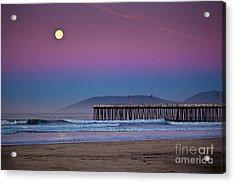 Pismo Beach Moonset At Sunrise Acrylic Print