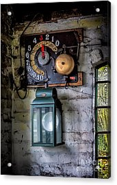 Pit Lift Control Acrylic Print by Adrian Evans