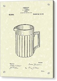 Pitcher 1913 Patent Art Acrylic Print by Prior Art Design