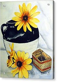 Pitcher With Yellow Flowers Acrylic Print by Zelma Hensel