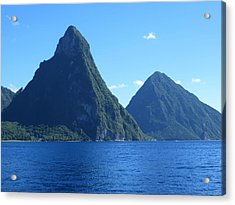 Pitons In St. Lucia Acrylic Print by Jean Marie Maggi