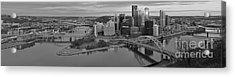 Pitsburgh Skyline Black And White Panorama Acrylic Print by Adam Jewell
