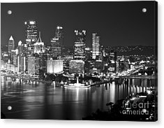 Pittsburgh - Black And White Acrylic Print