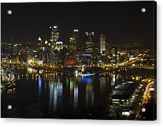 Pittsburgh At Christmas Acrylic Print by Nathan Ealy
